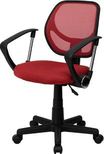 Flash Furniture WA-3074-RD-A-GG Mid-Back Red Mesh Task and