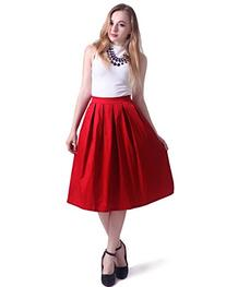 HDE Women's High Waist A Line Street Skirt Pleated Flared