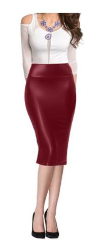 Women High Waist Faux Leather Midi Below Knee Pencil Skirt-L
