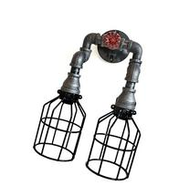 Wall Sconce Industrial Lighting w/ Cages, Black Pipe