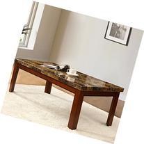 Walnut Color Wood Coffee Table Imitation Marble Top 48x24