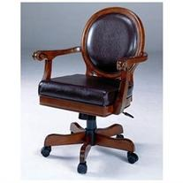 Warrington Caster Game Chair with Vinyl Seat in Rich Cherry