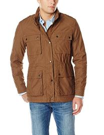 Cole Haan Men's Washed Cotton Utility Jacket, Teak Wood, XX-