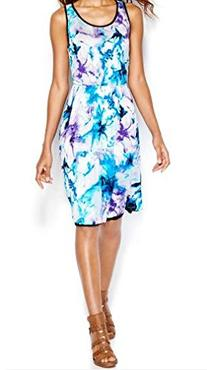 Kensie Women's Washed Floral Dress, Electric Blue Combo,