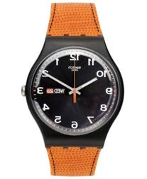 Swatch Watch, Unisex Swiss Faux Fox Orange Silicone Strap