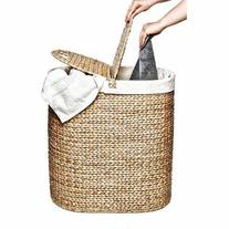 Seville Classics Water Hyacinth Oval Double Hamper, WEB167