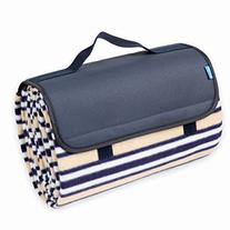 Yodo Outdoor Water-Resistant Picnic Blanket Tote,Navy Stripe