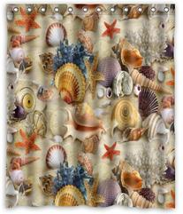 Seashells Starfish Shower Curtain  Waterproof Shower Rings
