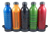 reduce WaterWeek Classic Reusable Water Bottle Set with Fridge Tray Organizer – 5 Flask Pack, 16oz – BPA Free, Leak Proof Twist Off Cap –