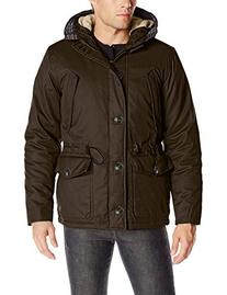 English Laundry Men's Wax Cotton Hooded Parka, Olive, Large
