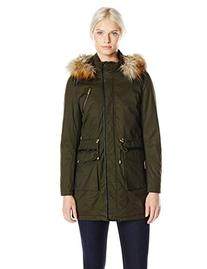 French Connection Women's Wax Finish Anorak with Faux Fur
