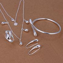 MANDI HOME Fashion 925 Silver Plated Jewelry Set Big Hand