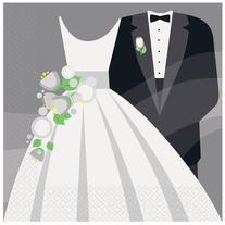 Silver Wedding Luncheon Napkins, 16ct