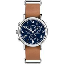 Timex Weekender Forty Chrono Watch, Tan Leather NATO-Style