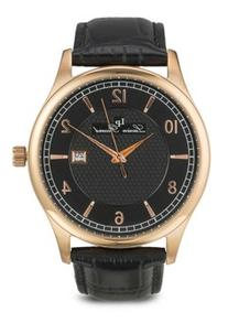 Weisshorn Black Genuine Leather and Dial Rose-Tone Case
