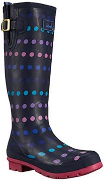 Joules Women's Welly Print Rain Boot, Navy Multi Spot White