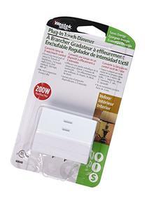 Westek 6004 200W 3-Level Touch Lamp Plug-In Dimmer, White