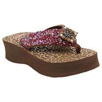 Blazin Roxx Western Shoe Women Hannah Flip Flop Concho rown