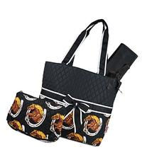 Black Western Horses Print Quilted Diaper Bag with Changing