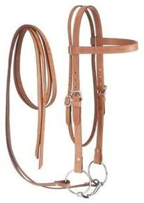 Tough 1 Western Leather Browband Draft Bridle, Light Oil
