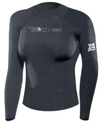 NeoSport Wetsuits Women's XSPAN Long Sleeve Shirt, Black, 6