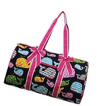 Whale Print Quilted 21' Duffle Bag