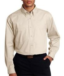 UltraClub® Men's Tall Whisper Twill Shirt - Stone - 2XLT