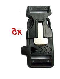 """XA 5PCS 3/4"""" Whistle Buckles w/ Flint Fire Starter & Striker"""