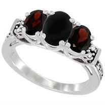 10K White Gold Natural Black Onyx & Garnet Ring 3-Stone Oval