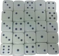 Set of 25 Large White Dice 25mm