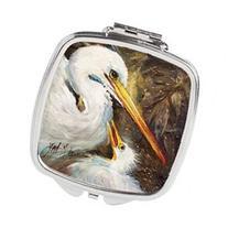 White Egret feeding baby Compact Mirror JMK1211SCM