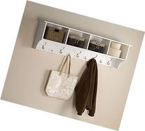 White 5 Ft Entry Hall Shelf with 4 Cubby and 9 Hook Coat
