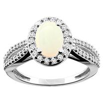 10K White Gold Natural Opal Ring Oval 8x6mm Diamond Accent,
