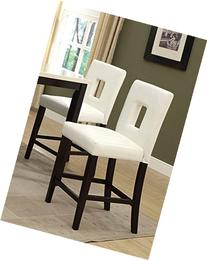 White Leather Counter Height Stools Set of 2 Parson High