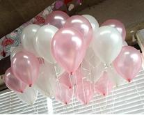 10 Inch White & Light Pink Helium Balloons for Party
