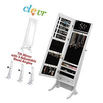 Clevr White Mirrored Jewelry Cabinet Armoire Mirror