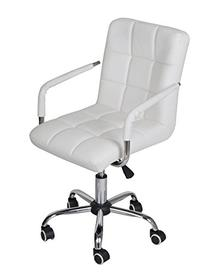 TMS White Modern Office Executive Sythetic Leather Swivel