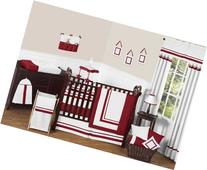 Sweet Jojo Designs 9-Piece White and Red Modern Hotel Unisex