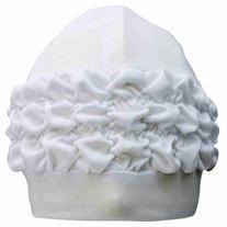 Luxury Divas White Swim Bathing Turban Cap With Ruffled