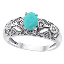14K White Gold Natural Turquoise Ring Oval 6x4 mm Diamond