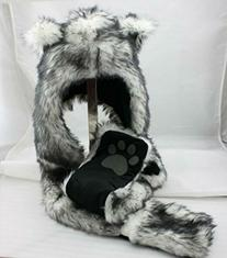 White Wolf Anime Spirit Paws Ears Faux Animal Hood Hoods