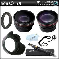 Wide Angle AND Telephoto Lens Kit For CANON VIXIA HF R82, HF