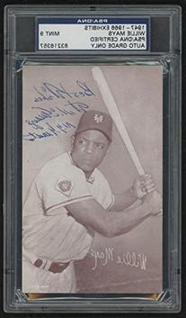 Willie Mays Signed Rookie Era Exhibit Postcard With New York
