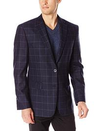 Vince Camuto Men's Windowpane, Navy Hopsack, 46 Regular