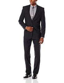 Vince Camuto Men's Windowpane Suit, Black, 42 Short