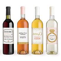 Wine Bottle Labels for Engagement Party Gift, Bridal Shower