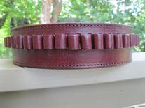 Wine Genuine Leather .45 Caliber Cartridge Gun Belt 38