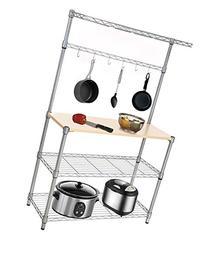 Homdox Wire Shelving Rack Kitchen Wood Board Shelf Unit