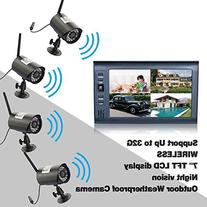 KKmoon Digital Wireless DVR Security System with 7 Inch LCD