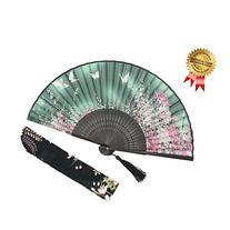 OMyTea® Women Hand Held Silk Folding Fan with Bamboo Frame